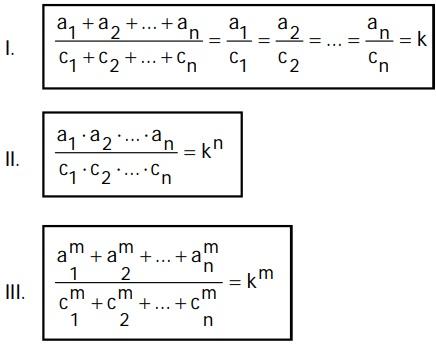 Propiedades de una serie de razones geométricas continuas